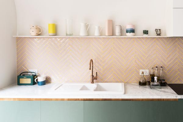 Pink Herringbone Tile Splashback