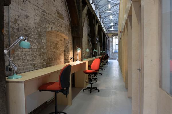 Wooden beams in communal space