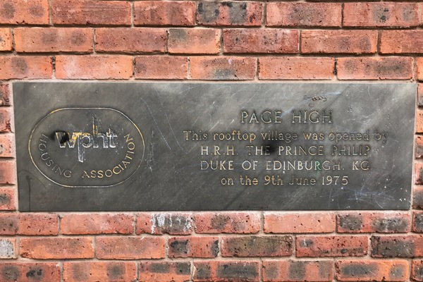 Plaque commemorating HRH Prince Philip opening estate, 1975