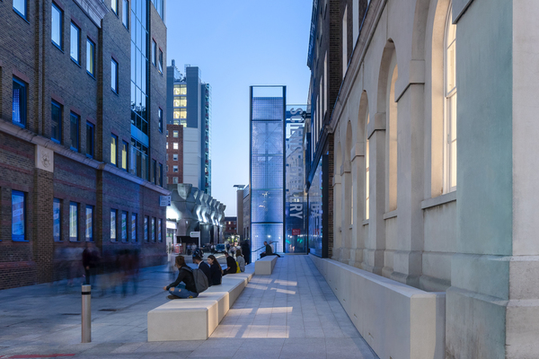View of the Science Gallery London light tower from St Thomas Street looking south down Great Maze Pond