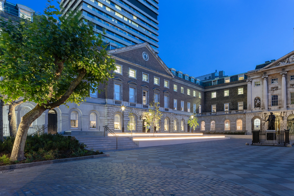 View of the Guy's Courtyard at night, situated to the west of Science Gallery London