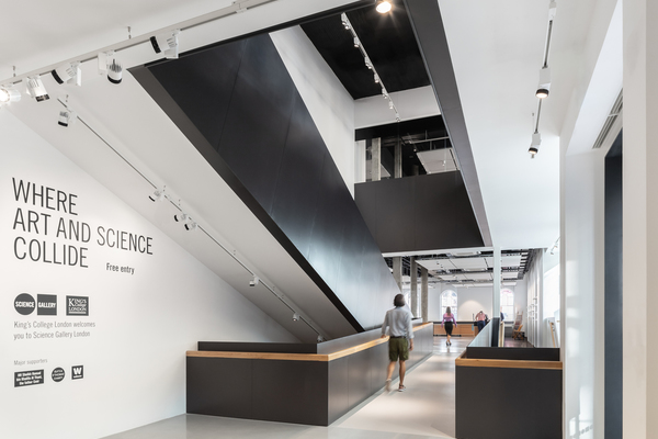 View of the inside of Science Gallery London main entrance on Great Maze Pond