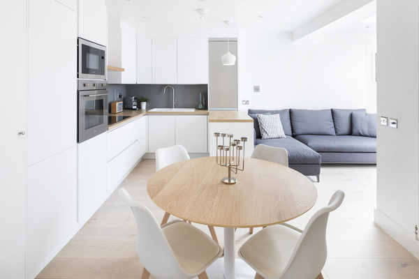 Dining and kitchen areas in main living space