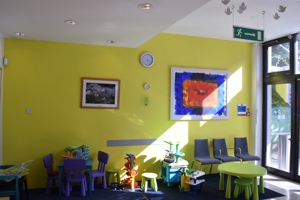 Reception area for clients with children