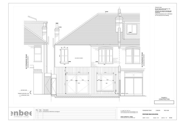 Rear elevation drawing