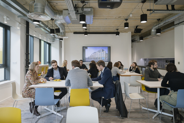 The multipurpose creative hub is used as a staff cafe at lunch times