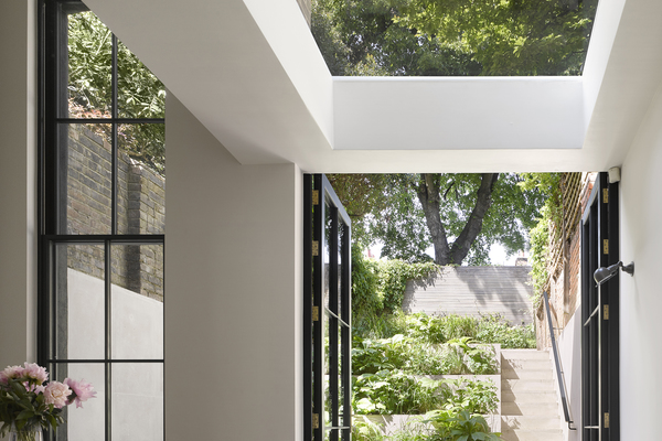 View under rooflight leading to garden