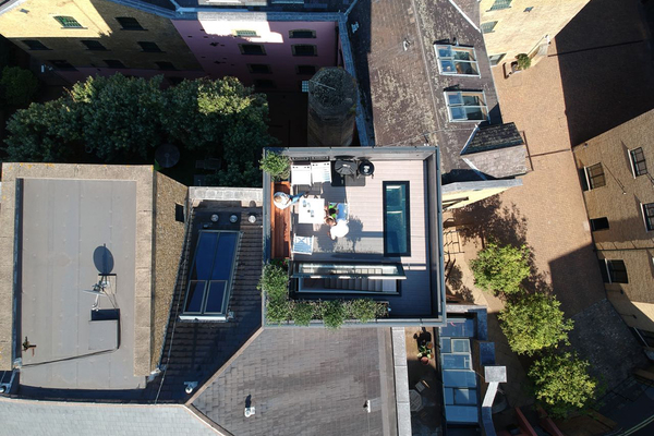 The water tower from overhead