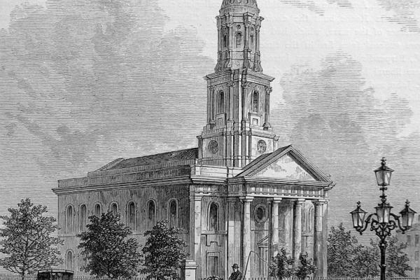 St Leonard's Shoreditch, Georgian building, etching