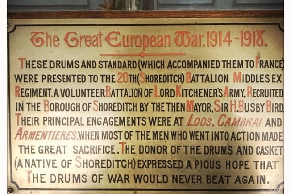 St Leonard's Shoreditch, monument display of drums from WW1 20th 'Shoreditch' Battalion