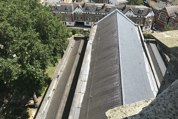 View of St Leonard's Shoreditch, restored slate nave roof, from cupola gallery