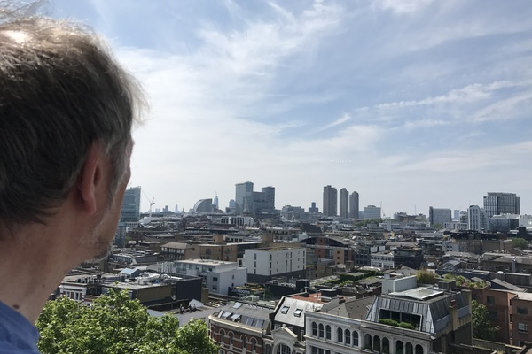Rev Paul Turp surveys the view from the cupola gallery over Shoreditch for the Queen's Birthday Flypast