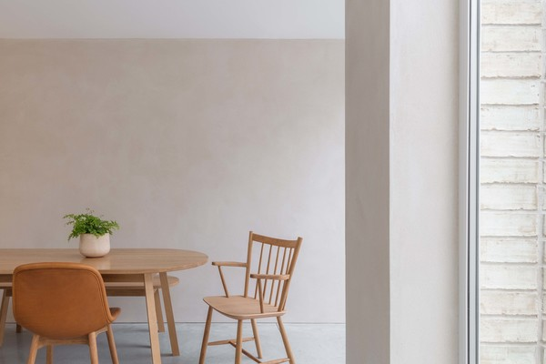 Dining - Light Clay Walls and White Ash Concrete Floor