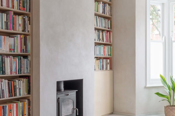 Living Room - Plywood Bookcase + Hearth Detail