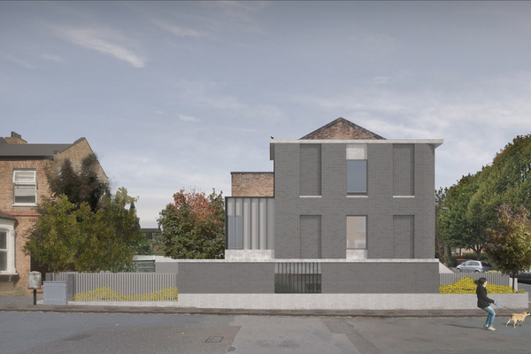 Visualisation by 31/44 showing the proposed scheme: side elevation view