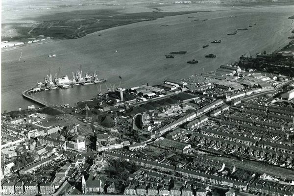 An aerial view of Erith - the Industrial River Front