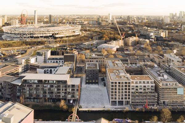 Aerial view showing proximity to the Olympic Park