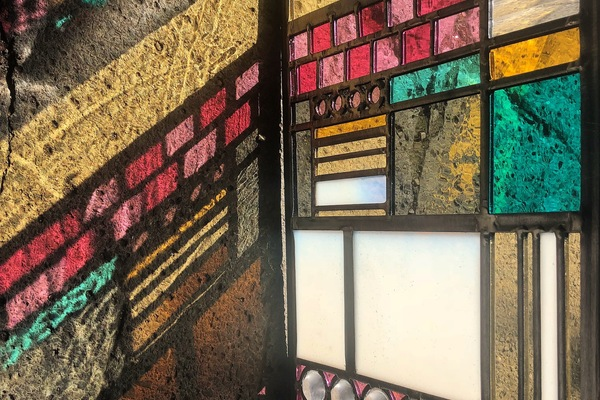 Stained Glass detail of patchwork window