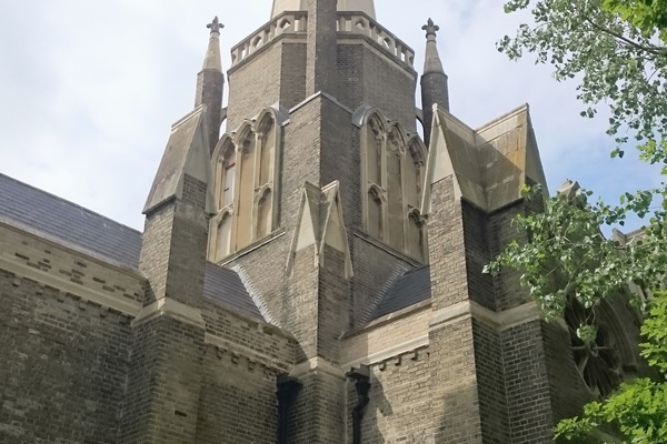 View of the renovated roof and spire