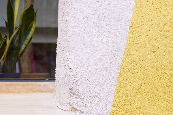 Detail view of lime render and lime paint
