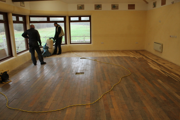 Main Room with recycled floor from Pitzhanger Manor