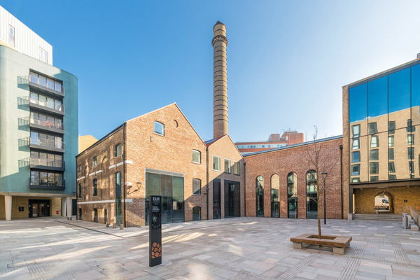 Bubbling Well Square, Ram Quarter (listed brewery buildings and old chimney stack)