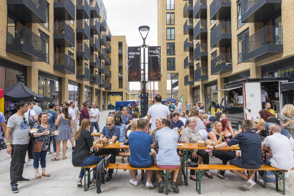 Ryeland Boulevard, Ram Quarter (view north up main boulevard, summer beer and barbecue event for residents and local community, 2019)