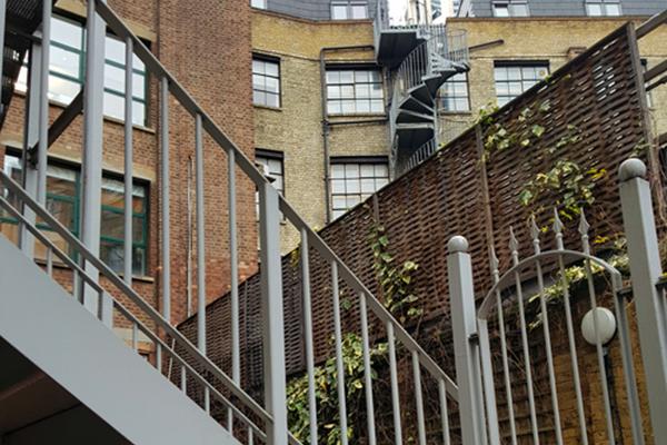 Rear view of the Victorian brick buildings around Chocolate Studios