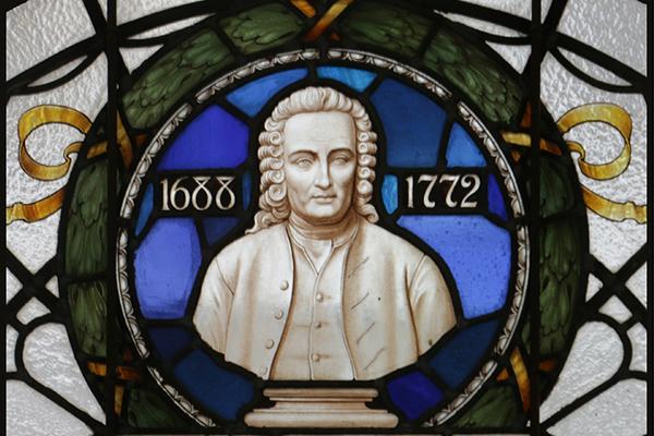 Stained glass window image of Swedenborg, vestibule (detail)