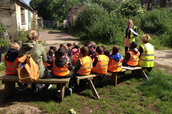 School lesson in Breakspears Mews Community Garden