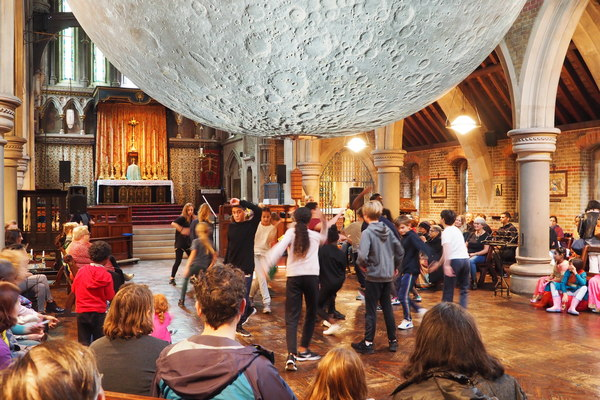 Interior, with Luke Jerram's moon, during the 2019 Bloomsbury Festival