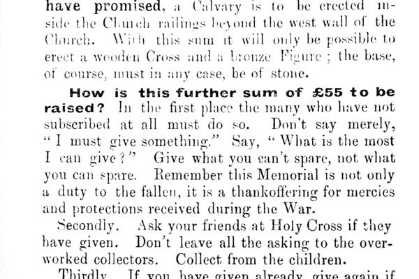 1920 appeal for war memorial