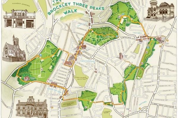Brockley 3 Peaks Walk map