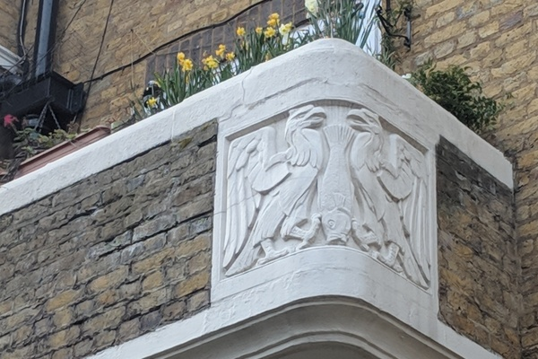 Detail of Bayes' balcony, St Mary's Flats
