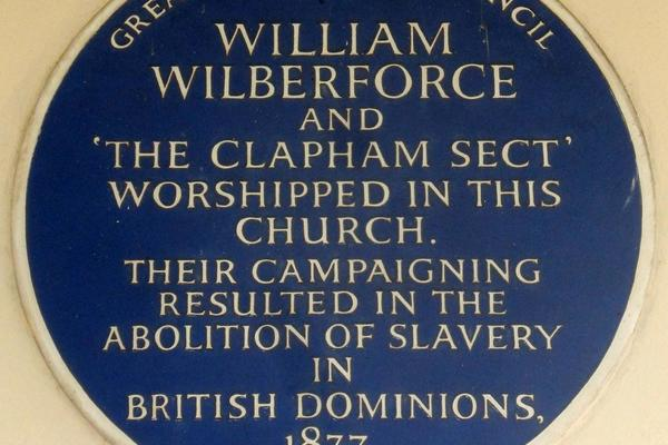 English Heritage Blue Plaque for William Wilberforce and 'The Clapham Sect'