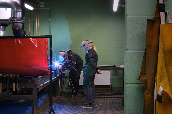 Students welding - Mill Street Building, Kingston School of Art, Kingston University